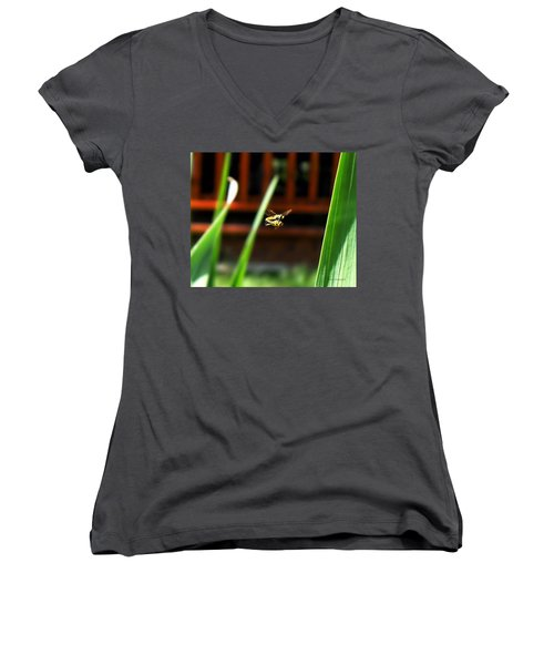 Women's V-Neck T-Shirt (Junior Cut) featuring the photograph Leave No Bee Behind by Thomas Woolworth