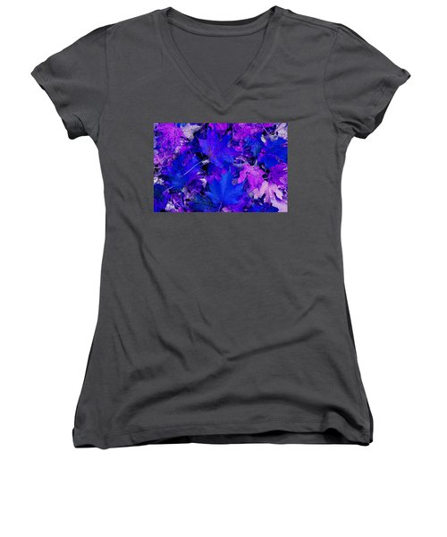 Women's V-Neck T-Shirt (Junior Cut) featuring the photograph Leaves by Aimee L Maher Photography and Art Visit ALMGallerydotcom