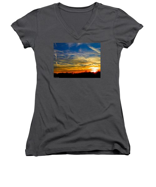 Leavin On A Jetplane Sunset Women's V-Neck (Athletic Fit)