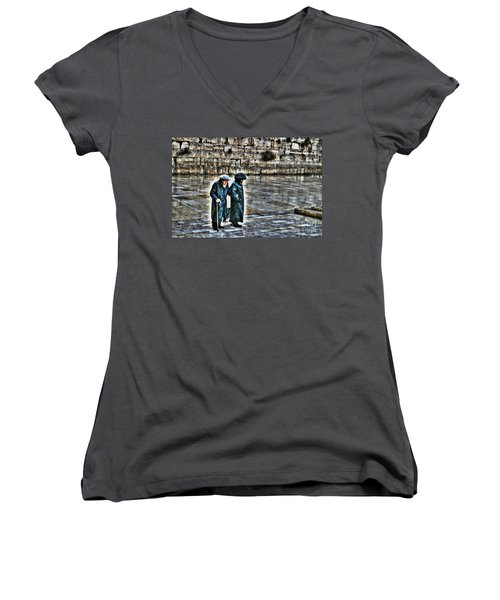 Women's V-Neck T-Shirt (Junior Cut) featuring the photograph Leaving The Western Wall In Israel by Doc Braham
