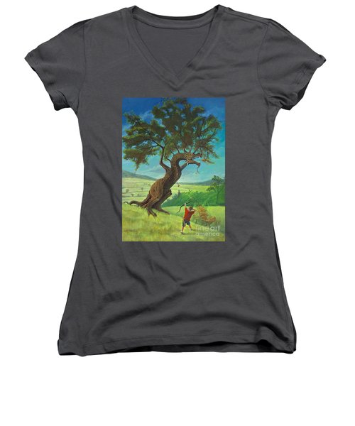 Women's V-Neck T-Shirt (Junior Cut) featuring the painting Legendary Archer by Rob Corsetti