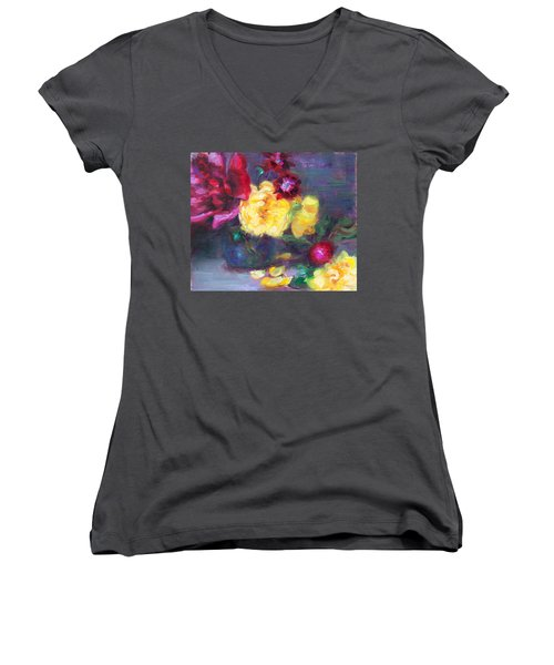 Lemon And Magenta - Flowers And Radish Women's V-Neck