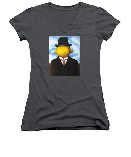 Lemon Head Women's V-Neck T-Shirt (Junior Cut) by Leah Saulnier The Painting Maniac