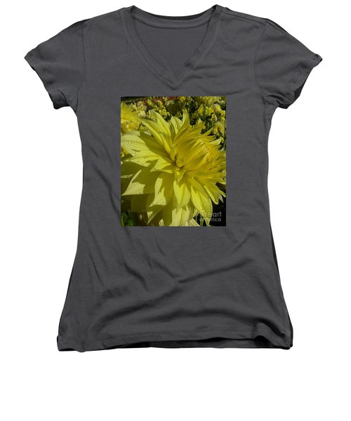 Lemon Yellow Dahlia  Women's V-Neck T-Shirt (Junior Cut) by Susan Garren