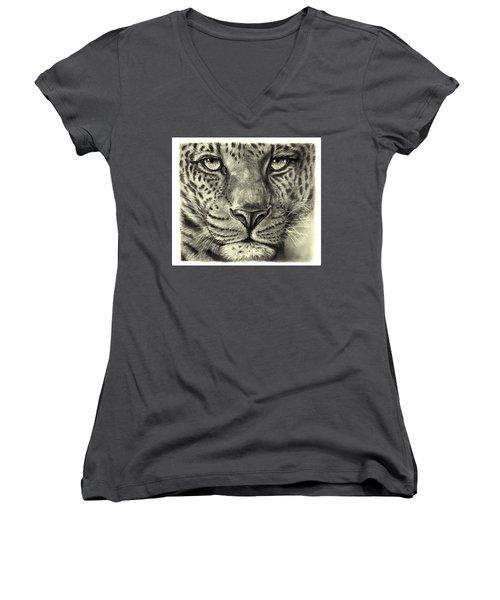 Leopard Women's V-Neck T-Shirt (Junior Cut) by Heidi Kriel