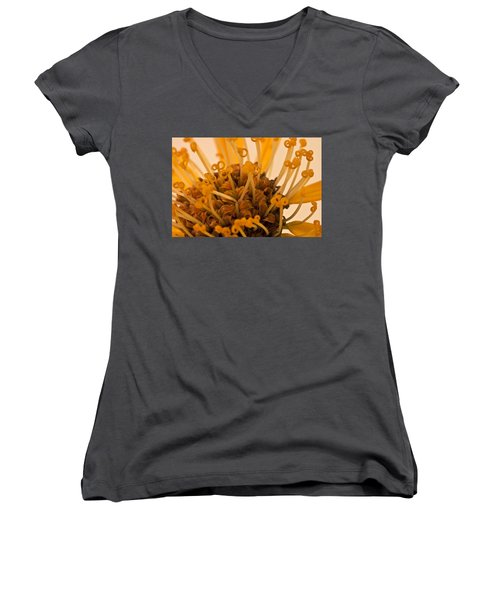 Women's V-Neck T-Shirt (Junior Cut) featuring the photograph Leopards Bane Flower Macro by Sandra Foster