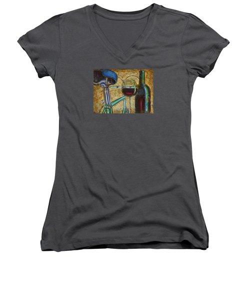 L'eroica Bianchi Chianti Women's V-Neck T-Shirt (Junior Cut) by Mark Jones