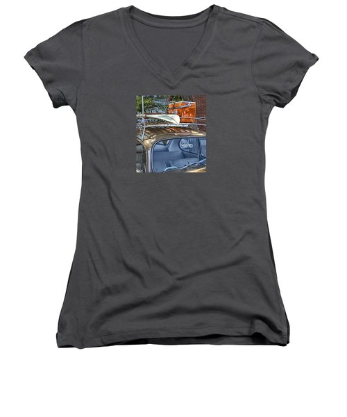 Let's Go Surfing Women's V-Neck T-Shirt (Junior Cut) by Theresa Tahara
