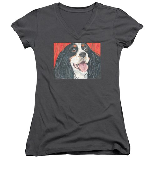 Women's V-Neck T-Shirt (Junior Cut) featuring the drawing Lexie by Arlene Crafton