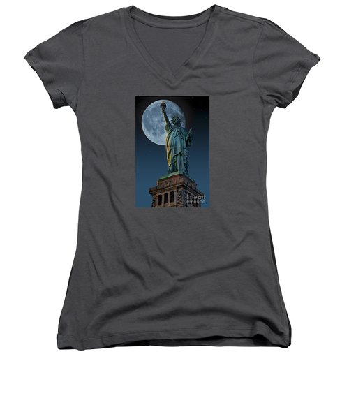 Liberty Moon Women's V-Neck T-Shirt (Junior Cut) by Steve Purnell