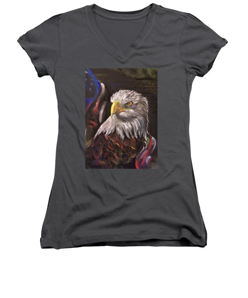 American Pride Women's V-Neck T-Shirt (Junior Cut) by Peter Suhocke