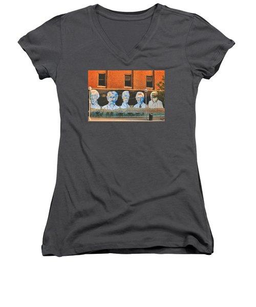 Liberty Street Mural Women's V-Neck T-Shirt (Junior Cut) by Pat Cook