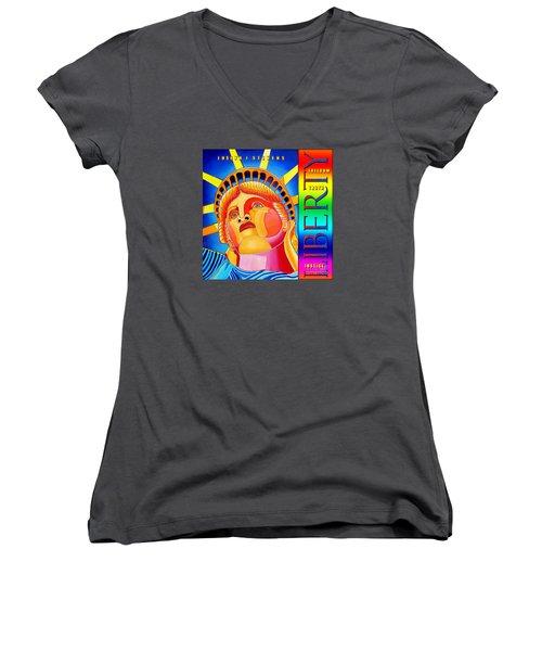 Liberty  Women's V-Neck T-Shirt (Junior Cut) by Joseph J Stevens