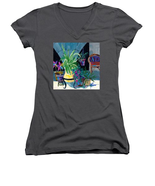 Library Courtyard-rhodes Old Town Women's V-Neck