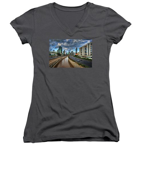 Women's V-Neck T-Shirt featuring the photograph Life In The Fast Lane by Ronsho