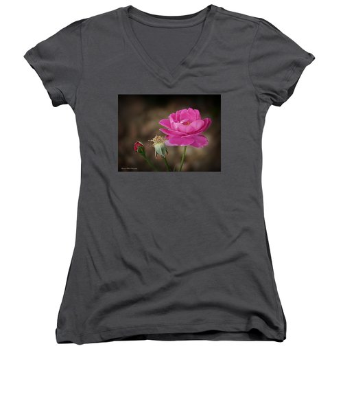 Women's V-Neck T-Shirt (Junior Cut) featuring the photograph Life by Lucinda Walter