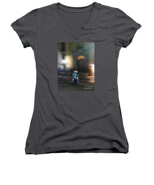 Women's V-Neck T-Shirt (Junior Cut) featuring the photograph Life Zooms By  by Nora Boghossian