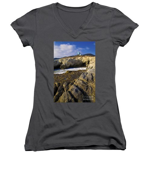 Lifeguard Tower On The Edge Of A Cliff Women's V-Neck T-Shirt (Junior Cut) by David Millenheft