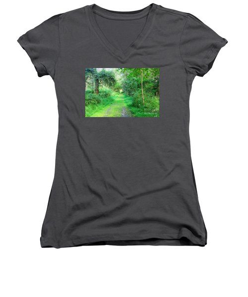 Women's V-Neck T-Shirt (Junior Cut) featuring the photograph Light At The End Of The Tunnel by Becky Lupe