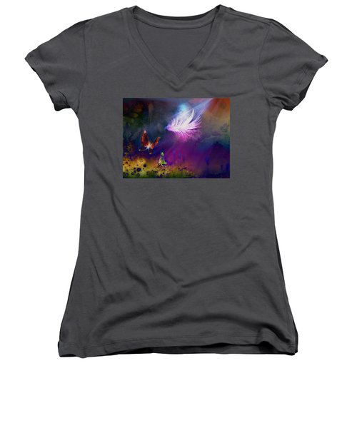 Women's V-Neck T-Shirt (Junior Cut) featuring the painting Light Feather by Lilia D