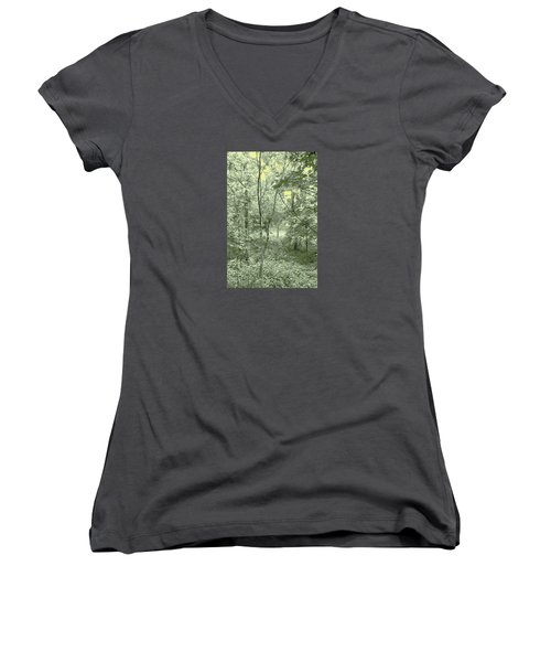 Women's V-Neck T-Shirt (Junior Cut) featuring the photograph Light Forest Scene by Tom Wurl