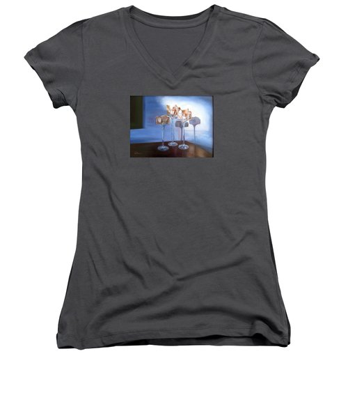 Women's V-Neck T-Shirt (Junior Cut) featuring the painting Light Glass And Shells by LaVonne Hand
