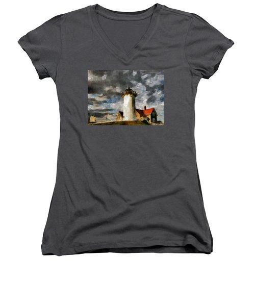 Light House In A Storm Women's V-Neck