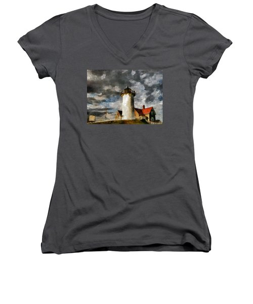 Light House In A Storm Women's V-Neck (Athletic Fit)