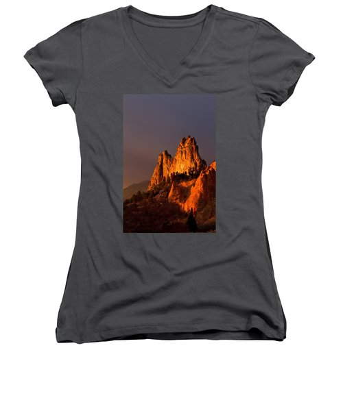 Women's V-Neck T-Shirt (Junior Cut) featuring the photograph Light On The Rocks by Ronda Kimbrow