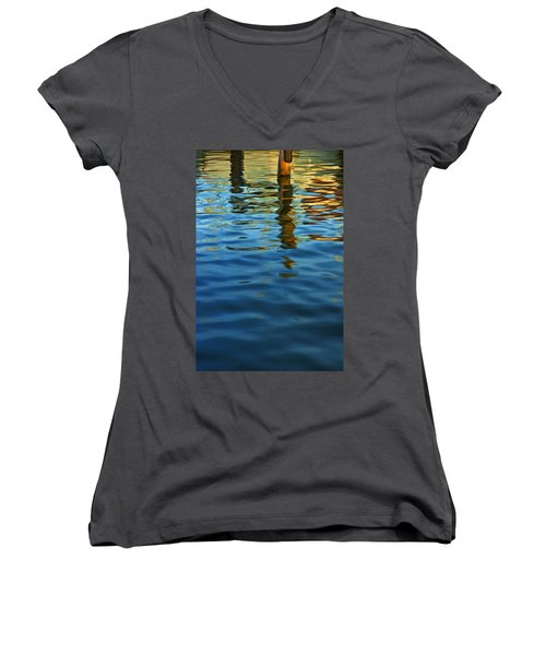 Light Reflections On The Water By A Dock At Aransas Pass Women's V-Neck