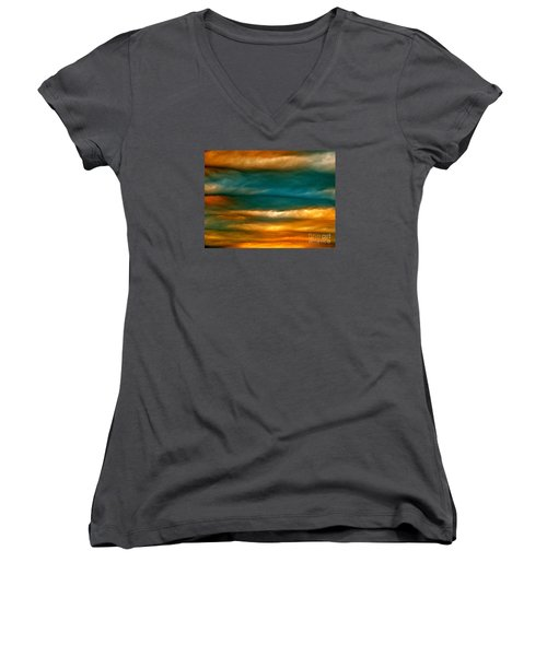 Women's V-Neck T-Shirt (Junior Cut) featuring the photograph Light Upon Darkness by Joy Hardee