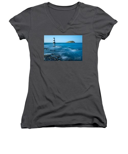 Lighthouse At Penmon Point Women's V-Neck (Athletic Fit)