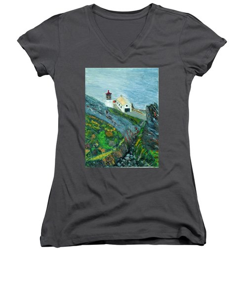 Lighthouse At Point Reyes California Women's V-Neck (Athletic Fit)