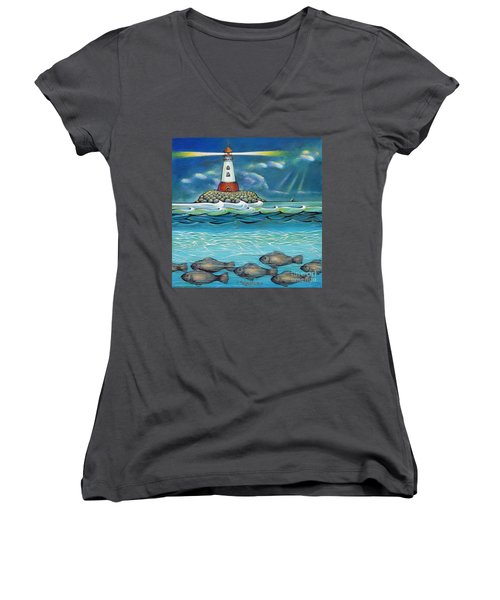 Lighthouse Fish 030414 Women's V-Neck