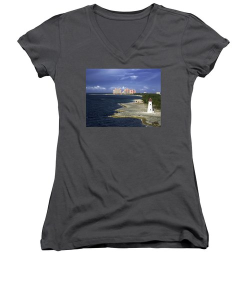 Lighthouse On Colonial Beach With Atlantis Paradise Resort Bahamas Women's V-Neck T-Shirt