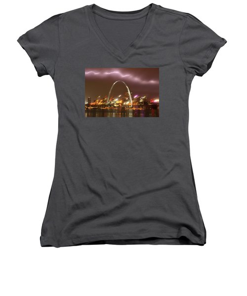 Lightning Over The Arch Women's V-Neck (Athletic Fit)