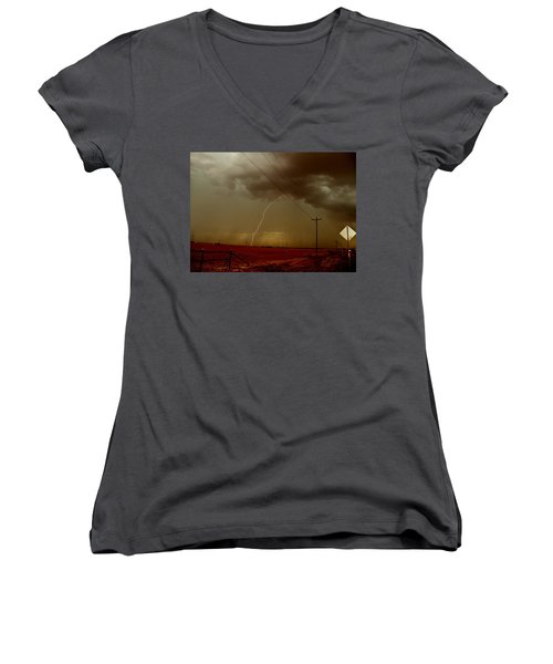 Women's V-Neck T-Shirt (Junior Cut) featuring the photograph Lightning Strike In Oil Country by Ed Sweeney