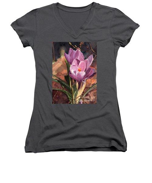 Lilac Crocuses Women's V-Neck