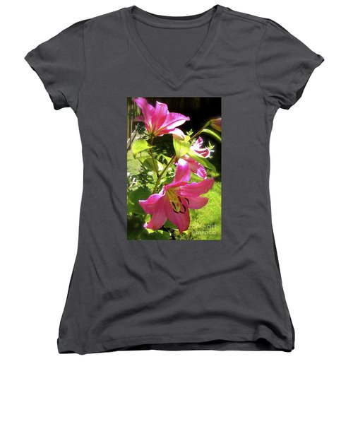 Lilies In The Garden Women's V-Neck T-Shirt