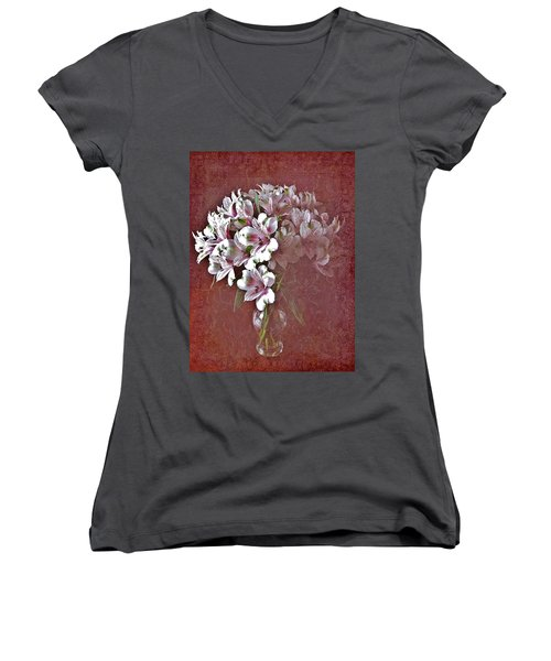 Women's V-Neck T-Shirt (Junior Cut) featuring the photograph Lilies In Vase by Diane Alexander