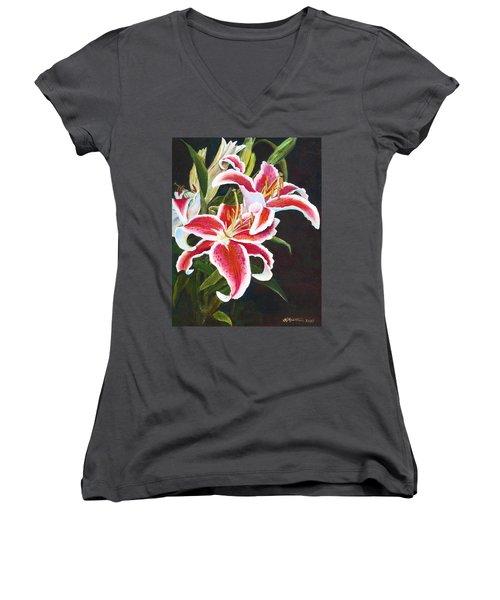Lilli's Stargazers Women's V-Neck T-Shirt (Junior Cut) by Harriett Masterson