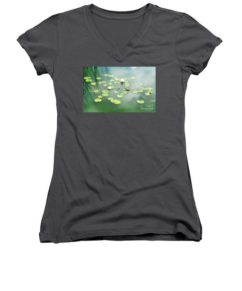 Women's V-Neck T-Shirt (Junior Cut) featuring the photograph Lilly Pads by Erika Weber
