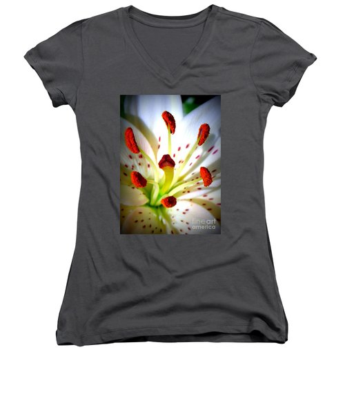 Lily Center Women's V-Neck T-Shirt (Junior Cut) by Patti Whitten