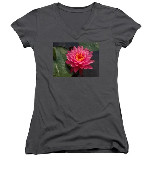 Women's V-Neck T-Shirt (Junior Cut) featuring the photograph Lily Flower In Bloom by Michael Porchik