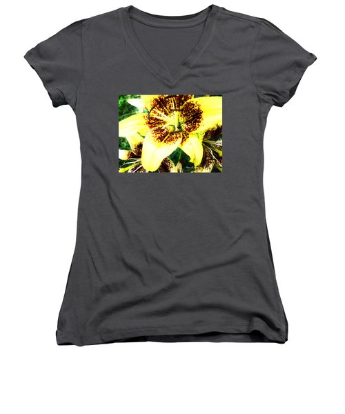 Women's V-Neck T-Shirt (Junior Cut) featuring the photograph Lily Love by Shana Rowe Jackson