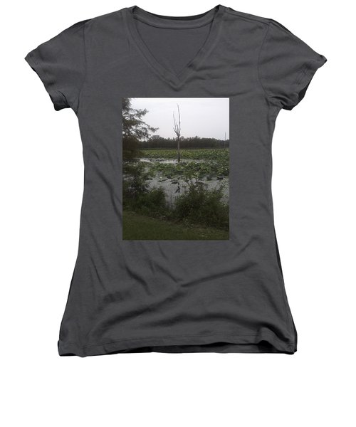 Women's V-Neck T-Shirt (Junior Cut) featuring the photograph Lily Pads by Fortunate Findings Shirley Dickerson