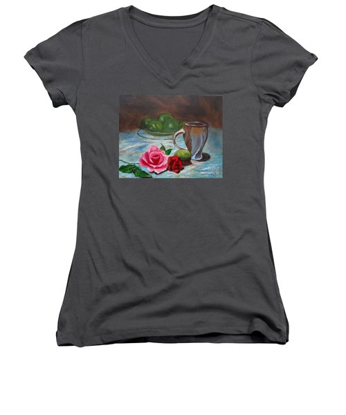 Women's V-Neck T-Shirt (Junior Cut) featuring the painting Limes And Roses by Jenny Lee