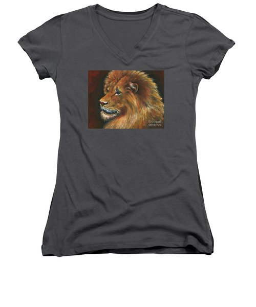 Women's V-Neck T-Shirt (Junior Cut) featuring the painting Lion by Alga Washington