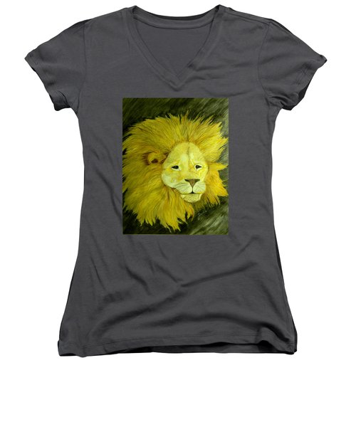 Lion Women's V-Neck T-Shirt (Junior Cut)