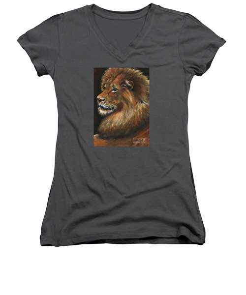 Lion Portrait Women's V-Neck T-Shirt (Junior Cut) by Alga Washington